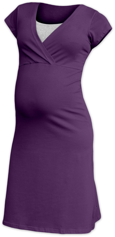 Kojící noční košile eva, krátký rukáv, švestkově fialová m/l