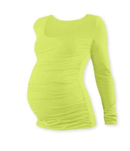 Tehotenské tričko Johanka, dlhý rukáv, svetlo zelené