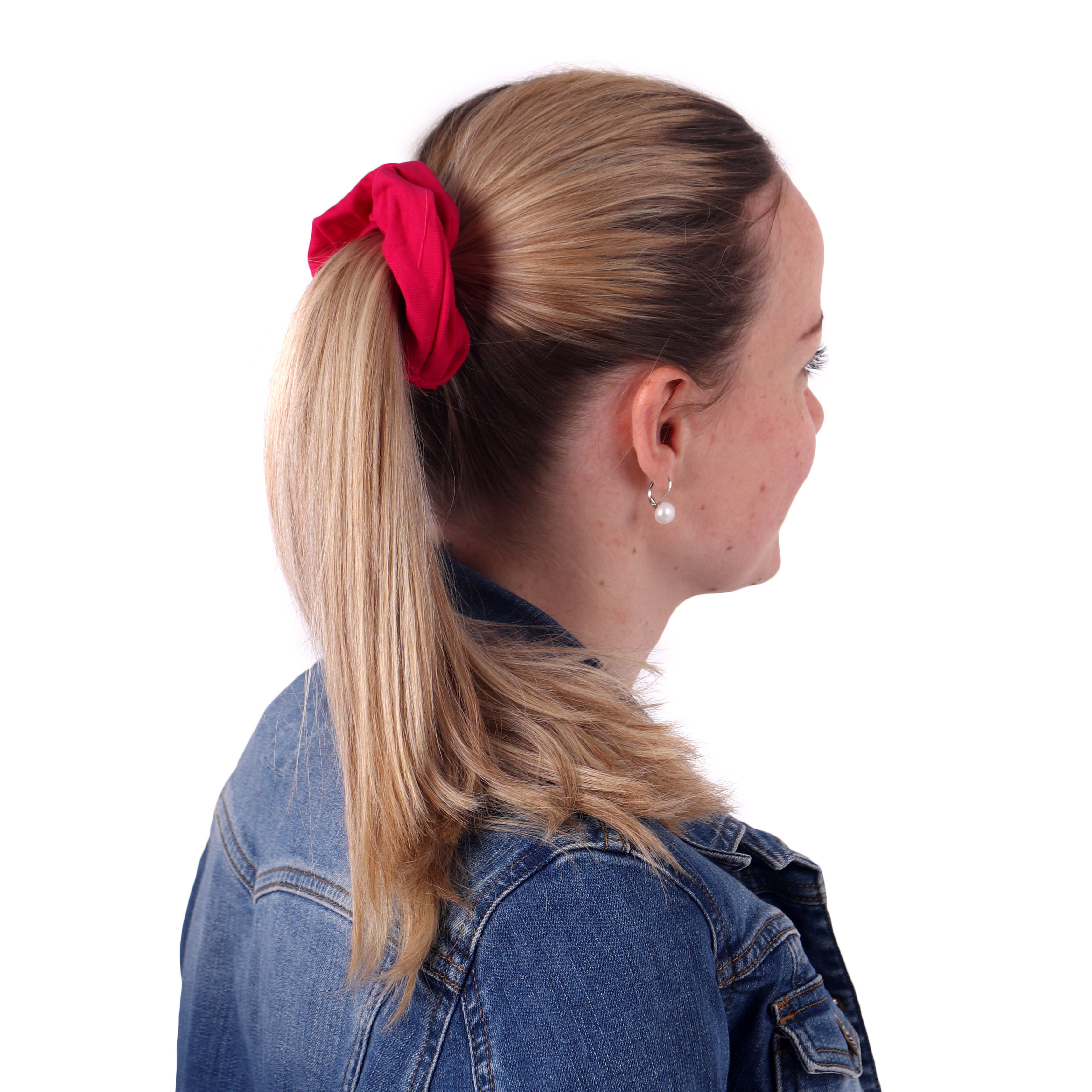 Látková gumička do vlasů, velká, sytě růžová