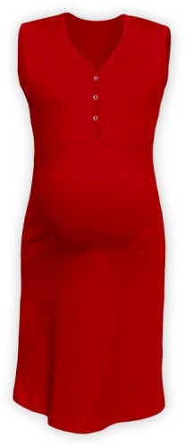 Maternity and breastfeeding nightdress with snap-button neckline Cecilie, RED