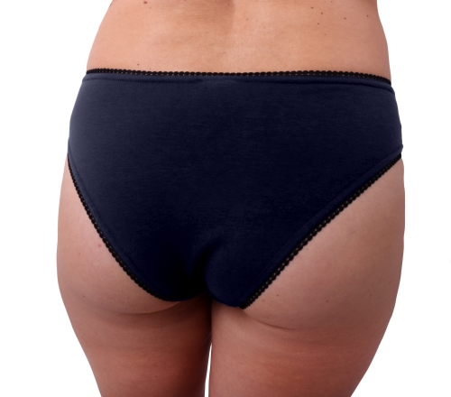 Dámské kalhotky bavlněné, vykrojený střih, tmavě modré