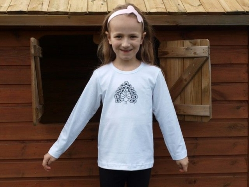 Children's T-shirt, long sleeve, white