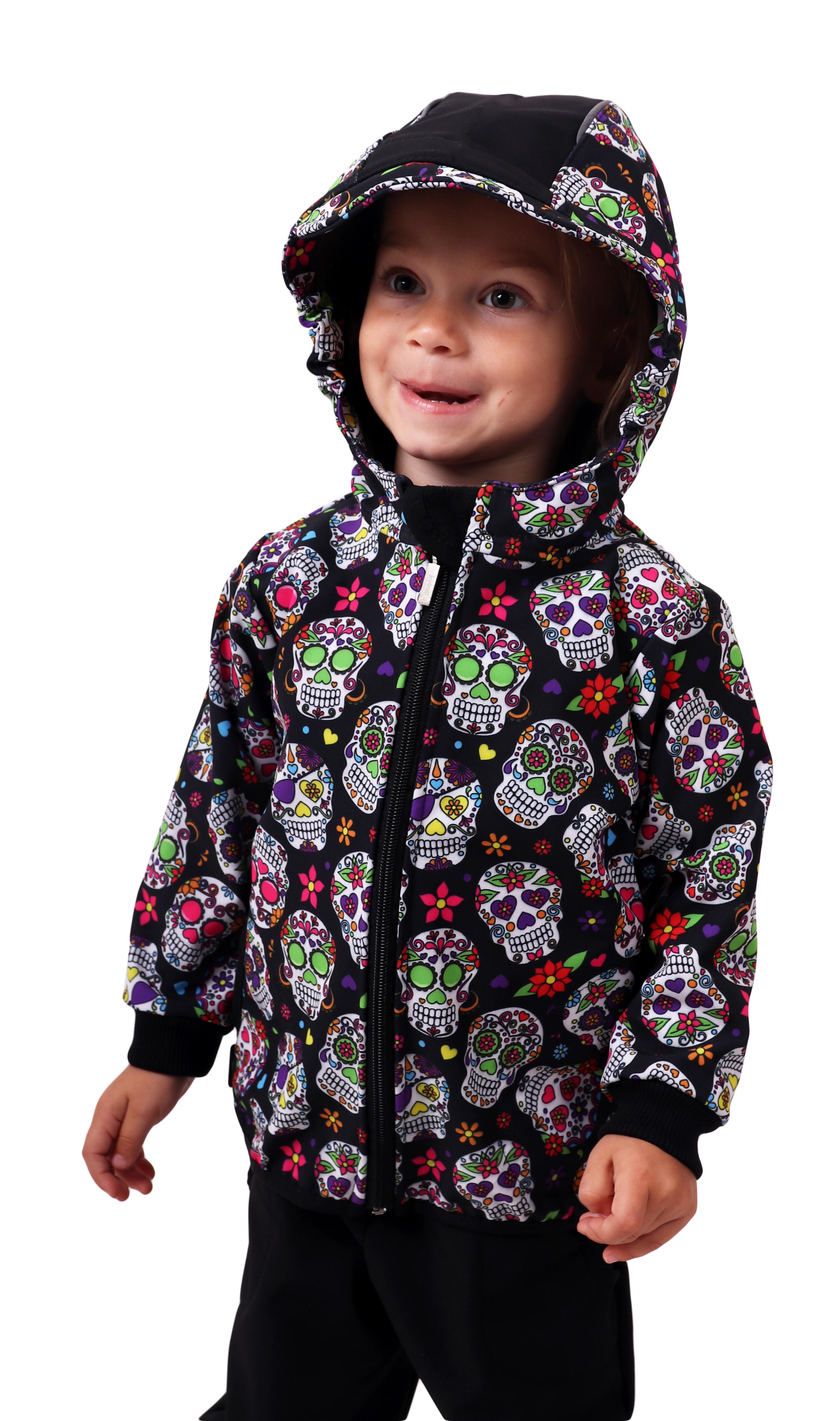 Dětská softshellová bunda, barevné lebky, 80
