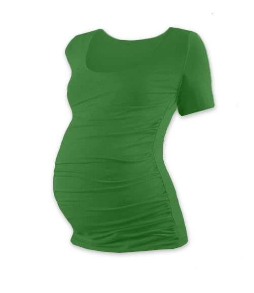 Těhotenské tričko Johanka, krátký rukáv, tmavě zelené
