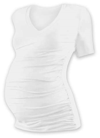 Tehotenské tričko Vanda, krátky rukáv, smotanové