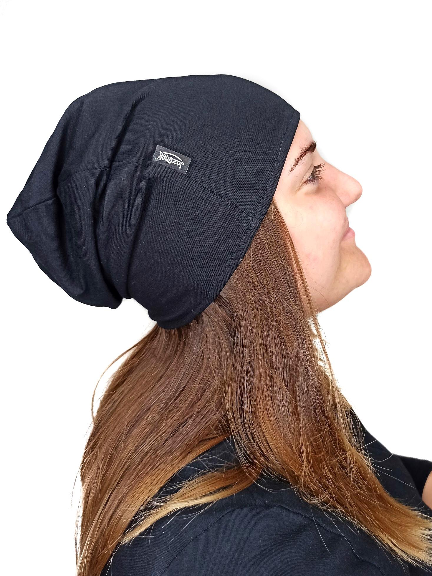 Dámská čepice bavlněná, černá