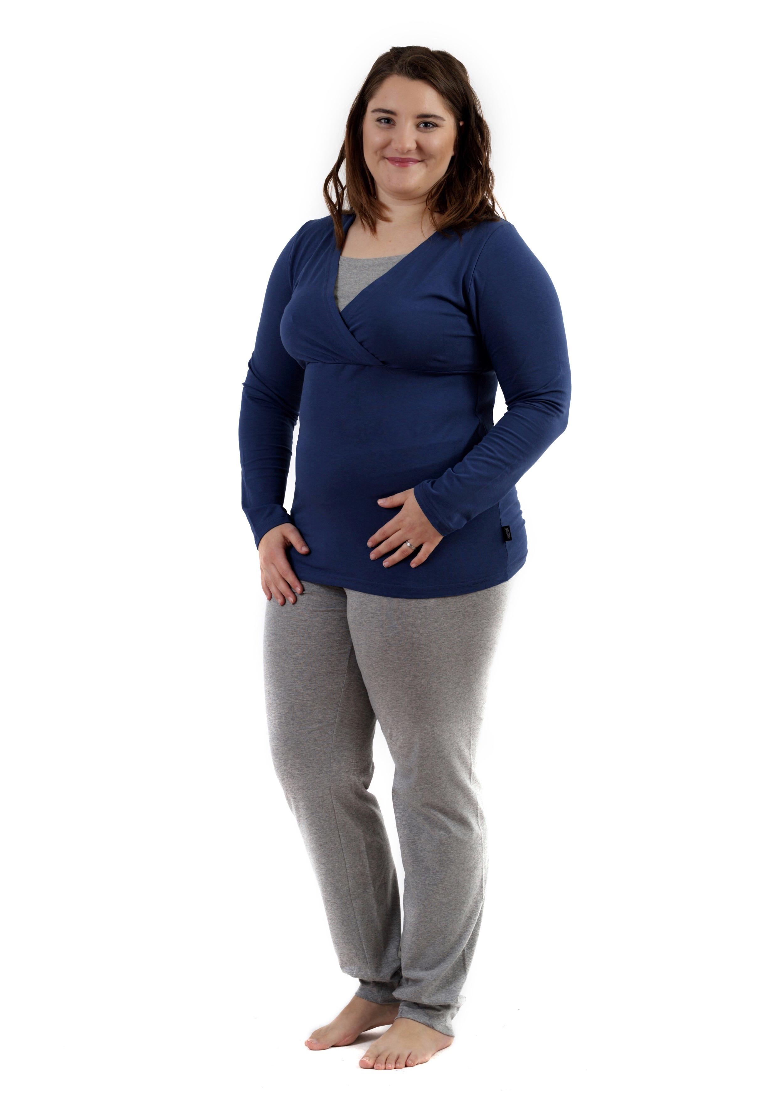 Těhotenské s kojicí pyžamo, dlouhé, jeans modré+šedý melír