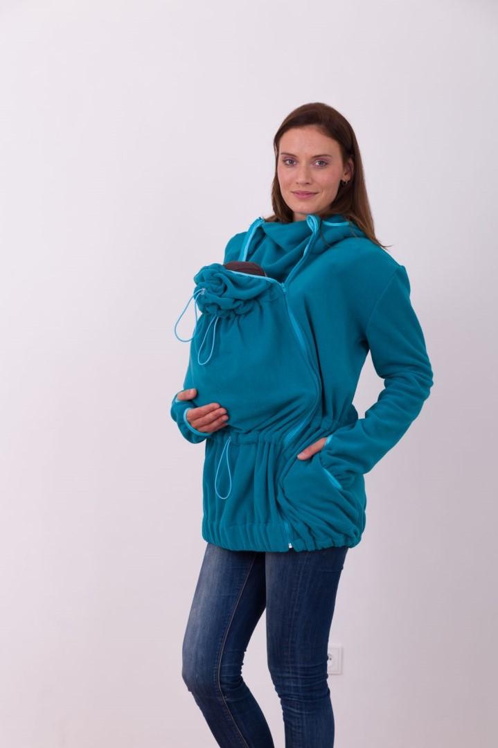 NINA- nosící fleece mikina s kapucí ( pouze pro přední nošení ), petrolejová