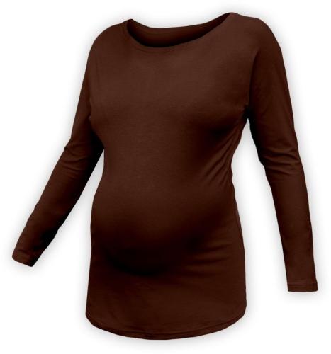 Těhotenské tričko s netopýřími rukávy Nikola, DLOUHÝ rukáv, čoko hnědá