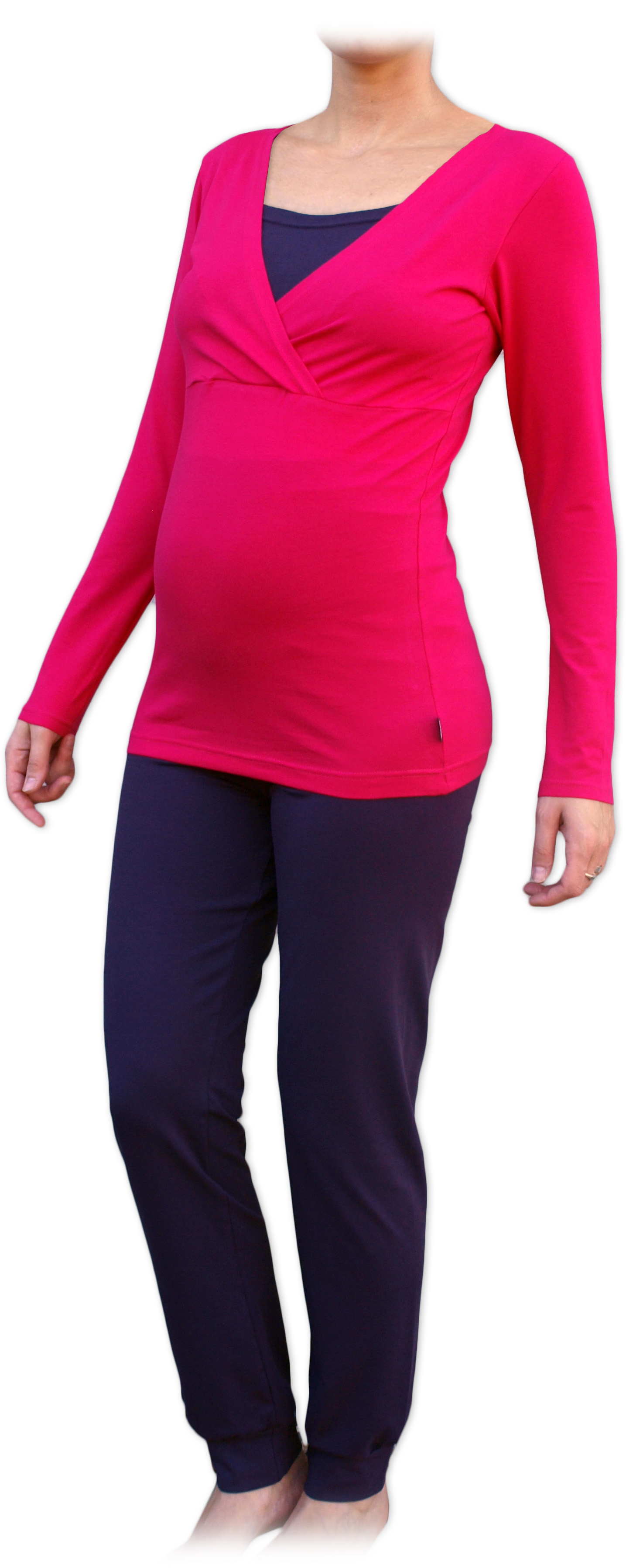 Těhotenské a kojicí pyžamo, dlouhé, sytě růžové+švestka s/m