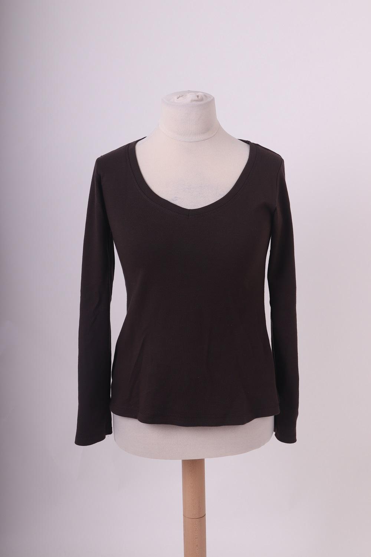 Bio-dámské tričko, dl. rukáv, hnedé, m