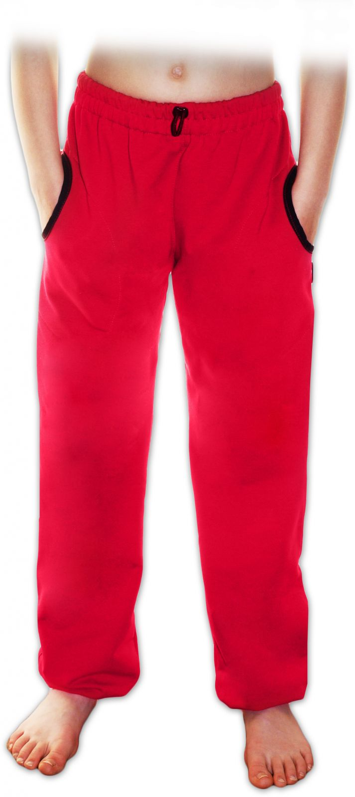 Teplejší dětské tepláky s kapsami, bavlněné, sytě růžové, 98/104