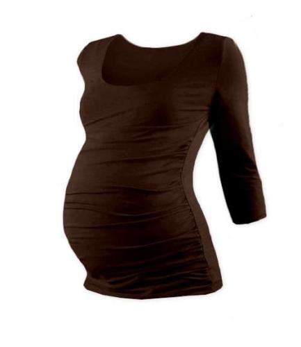 Maternity T-shirt Johanka, 3/4 sleeve, CHOCOLATE BROWN