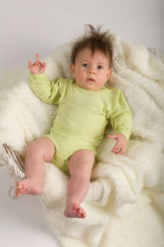 Baby cotton onesies with long sleeves, light green
