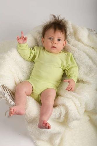 Dojčenské body s dlhým rukávom, svetlo zelené