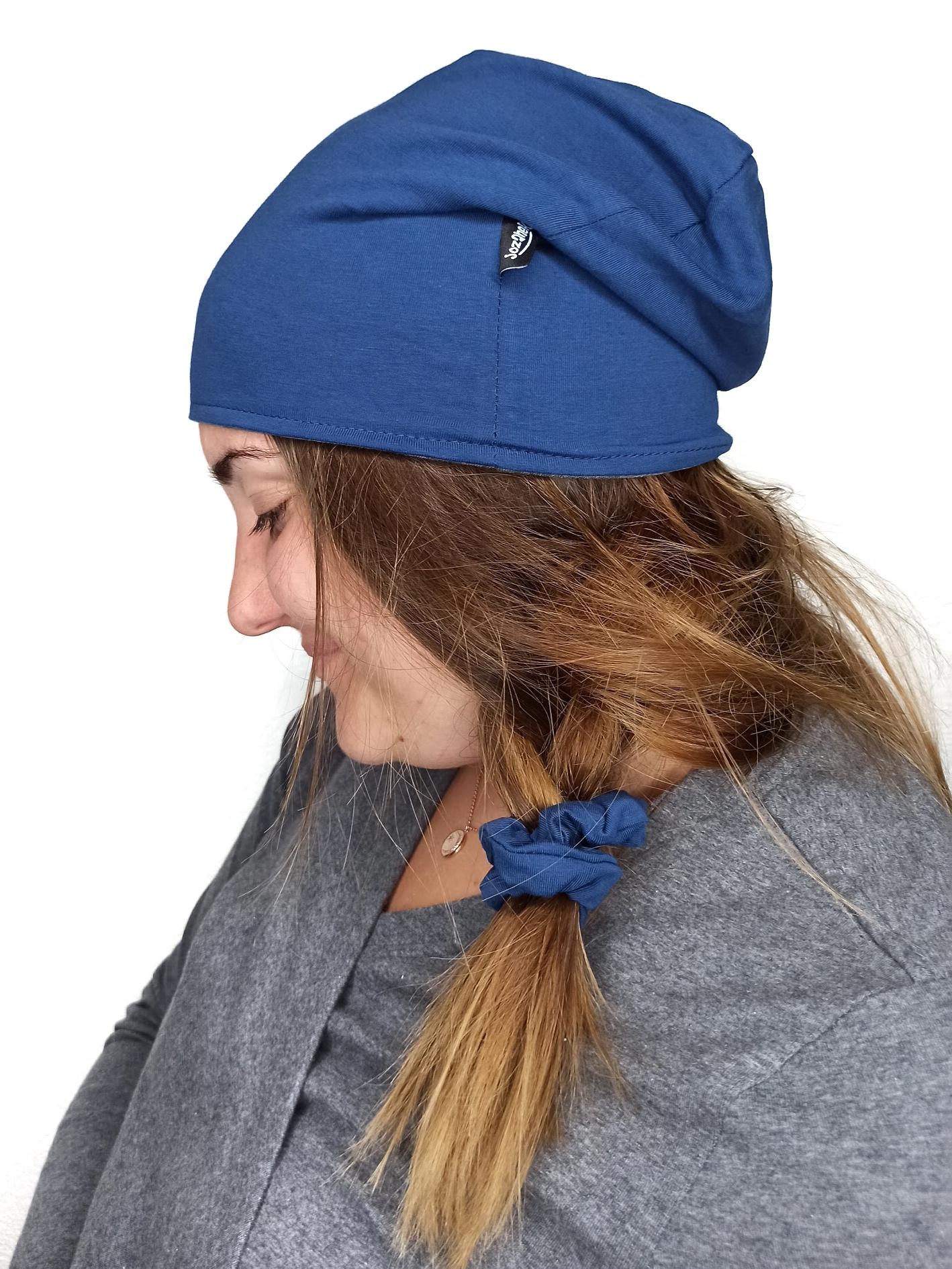 Dámská čepice bavlněná, tmavě šedý melír+jeans modrá, l