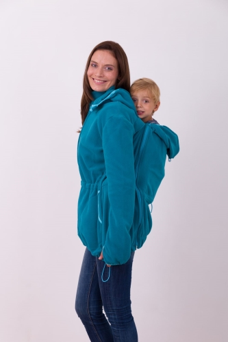 Nosící fleece mikina Nela (přední/zadní nošení), petrolejová