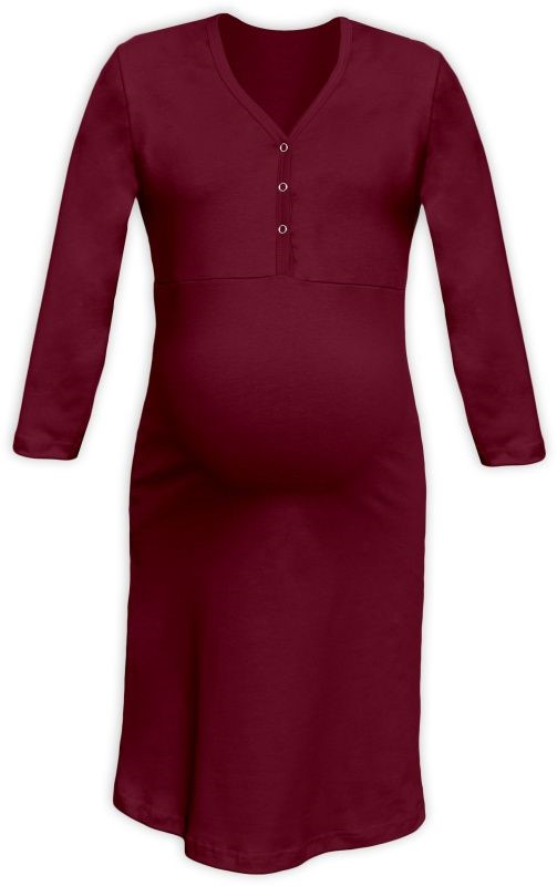 CECILIE- maternity and breastfeeding nightdress with snap-button neckline, BORDEAUX