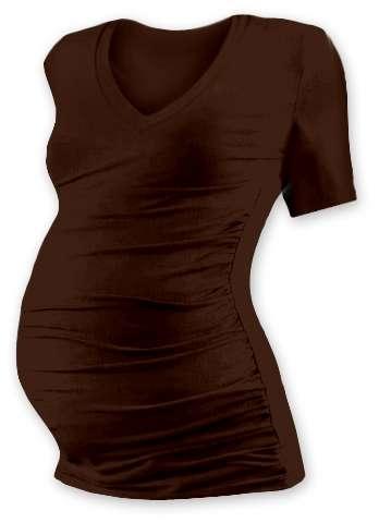 Tehotenské tričko Vanda, krátky rukáv, hnedé
