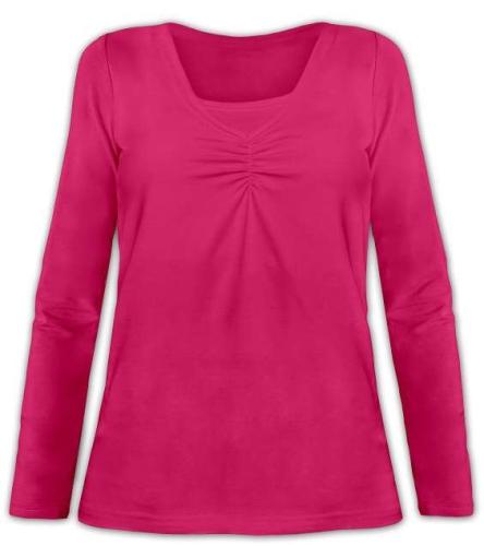 Dojčiace tričko Klaudie, vsadka vo farbe, dlhý rukáv, sýto ružová