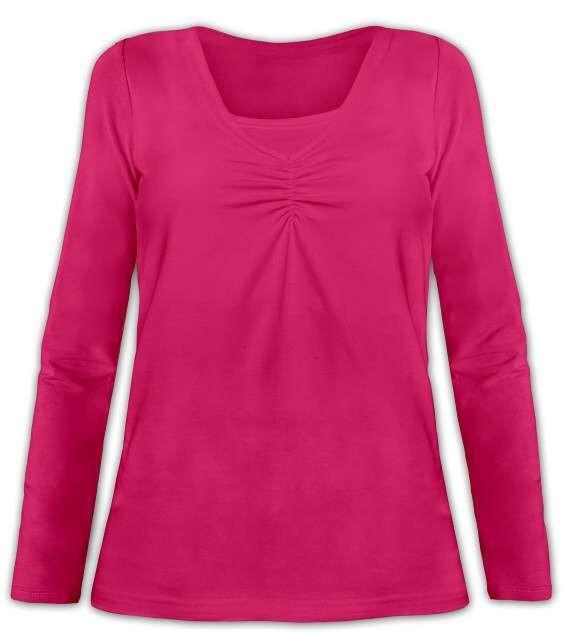 KLAUDIE- kojící tričko, vsadka v barvě, dlouhý rukáv, sytě růžová