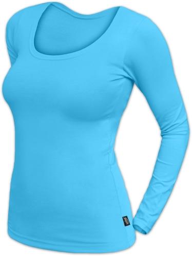 Dámské tričko Brigita, dlouhý rukáv, tyrkys