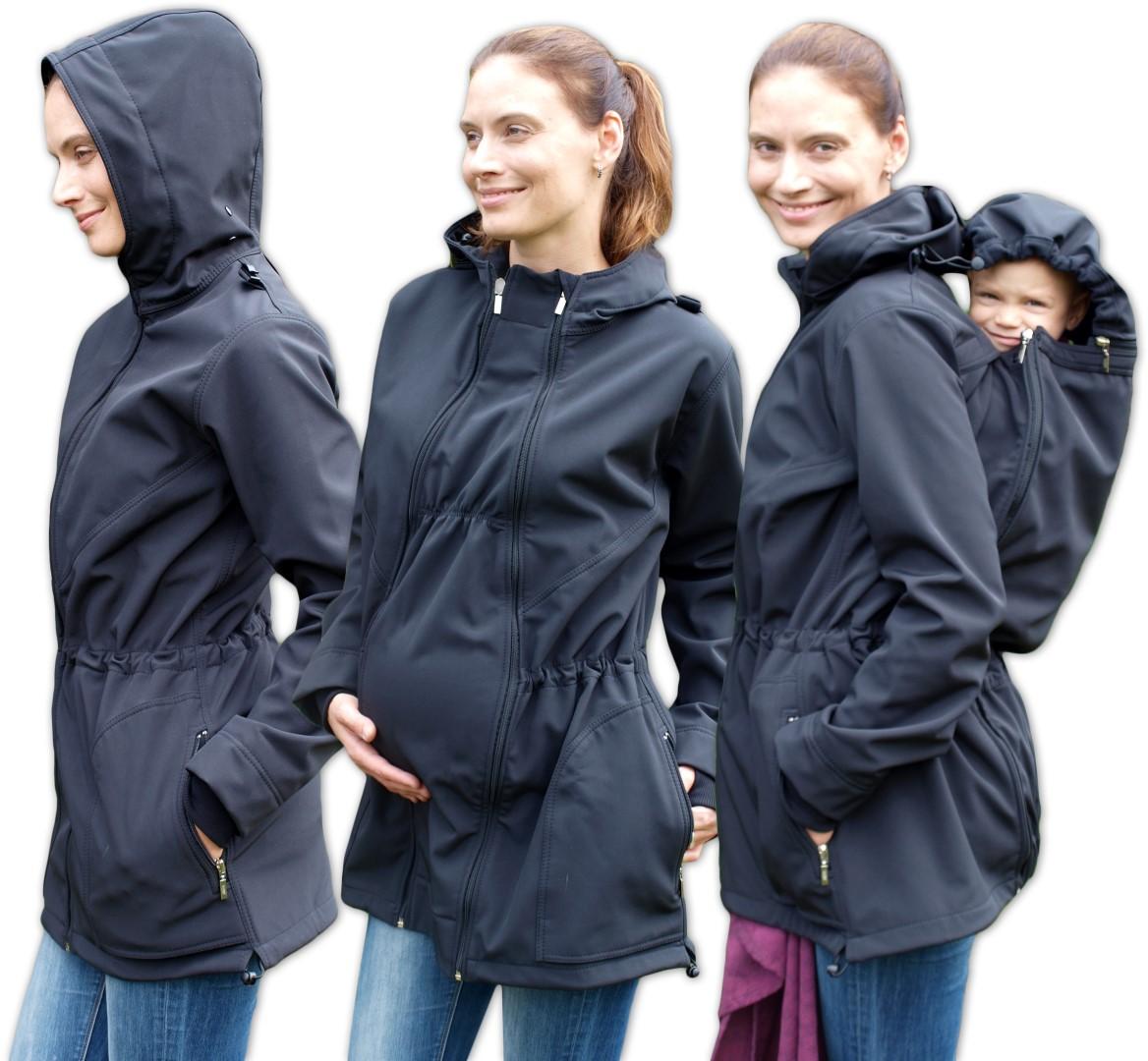ALICE 2- softshellová těhotenská a nosící bunda (pro nošení vpředu/vzadu), ČERNÁ
