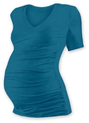 Tehotenské tričko Vanda, krátky rukáv, tmavo tyrkysové