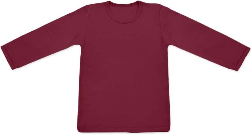 Dětské tričko s dlouhým rukávem, bordo 74