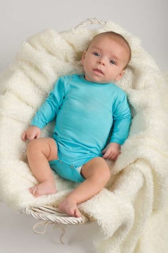 Baby cotton onesies with long sleeves, turquoise