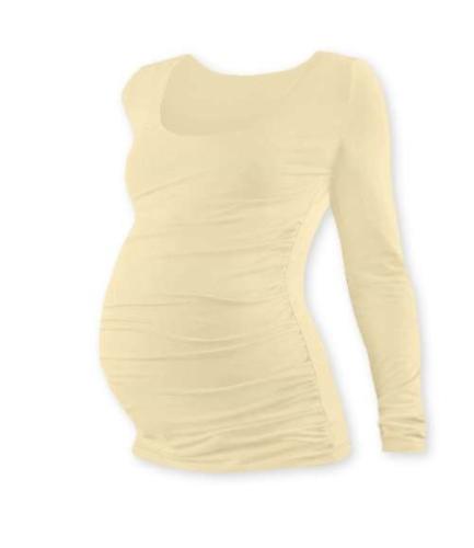 Tehotenské tričko Johanka, dlhý rukáv, béžovej (caffe latte)