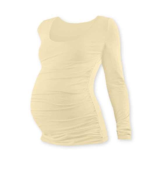 Těhotenské tričko Johanka, dlouhý rukáv, béžové (caffe latte)