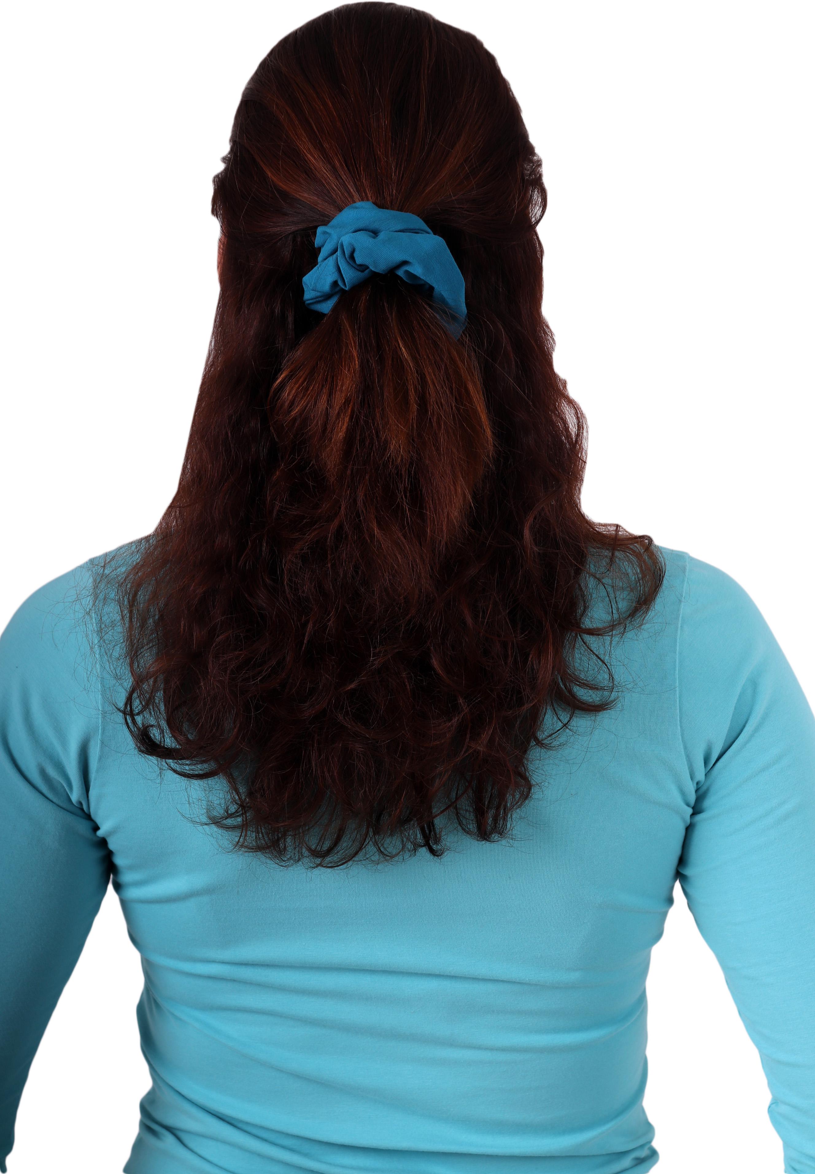 Látková gumička do vlasů, velká, tmavý tyrkys