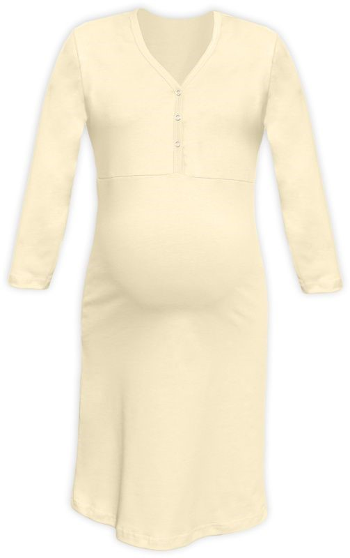 CECILIE- Nachthemd für schwangere und stillende Frauen, 3/4 Ärmel, Caffe latte