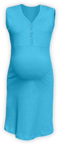 CECILIE- maternity and breastfeeding nightdress with snap-button neckline, TURQUOISE