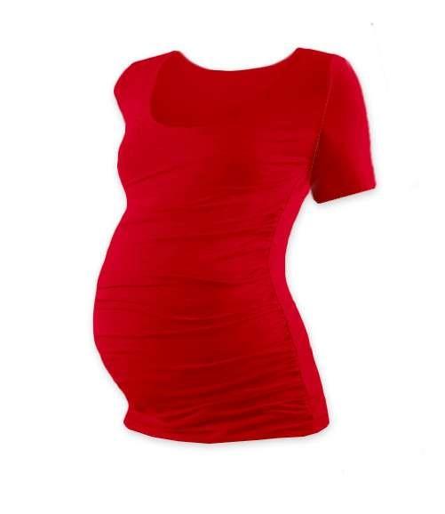 Těhotenské tričko Johanka, krátký rukáv, červené
