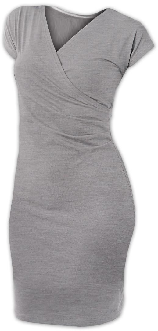 Dámské šaty (i kojicí) Amálie, bez rukávů, šedý melír