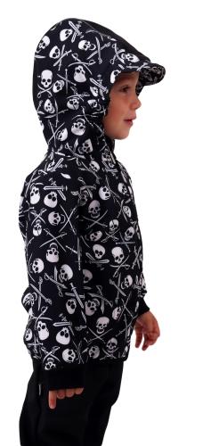 Detská softshellová bunda, pirátske lebky