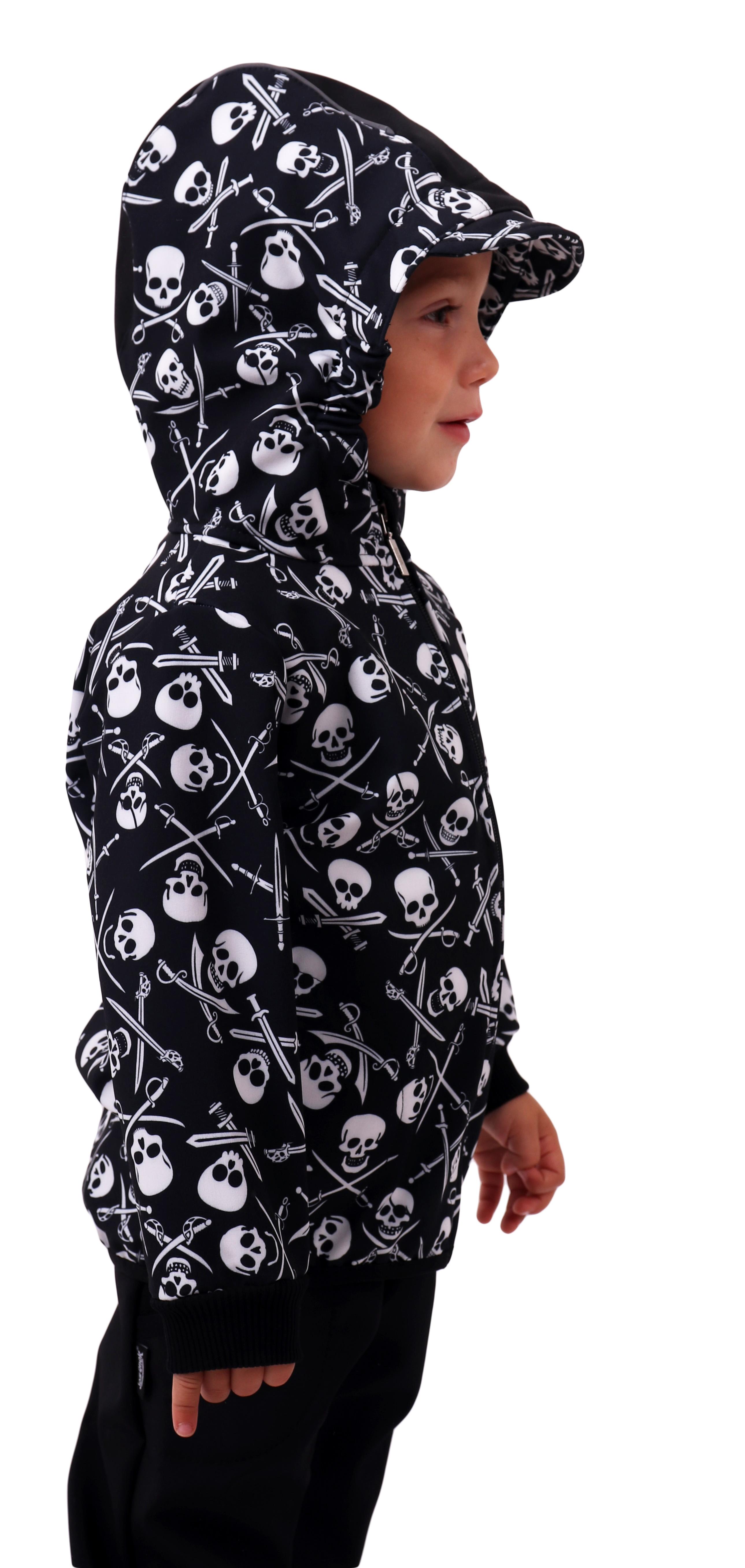 Dětská softshellová bunda, pirátské lebky, 128