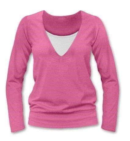 Kojící tričko KARLA, dlouhý rukáv, růžová