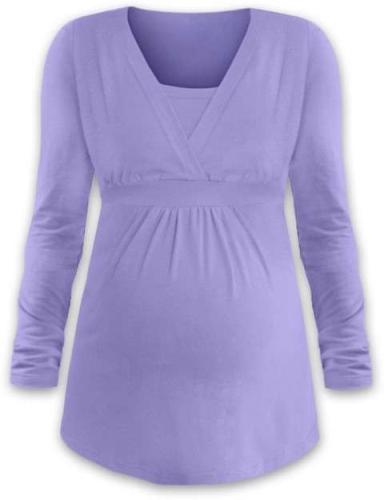 Těhotenská a kojicí tunika Anička, dlouhý rukáv, světle fialová