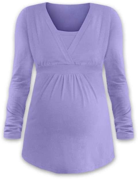 Těhotenská a kojicí tunika anička, dlouhý rukáv, světle fialová l/xl