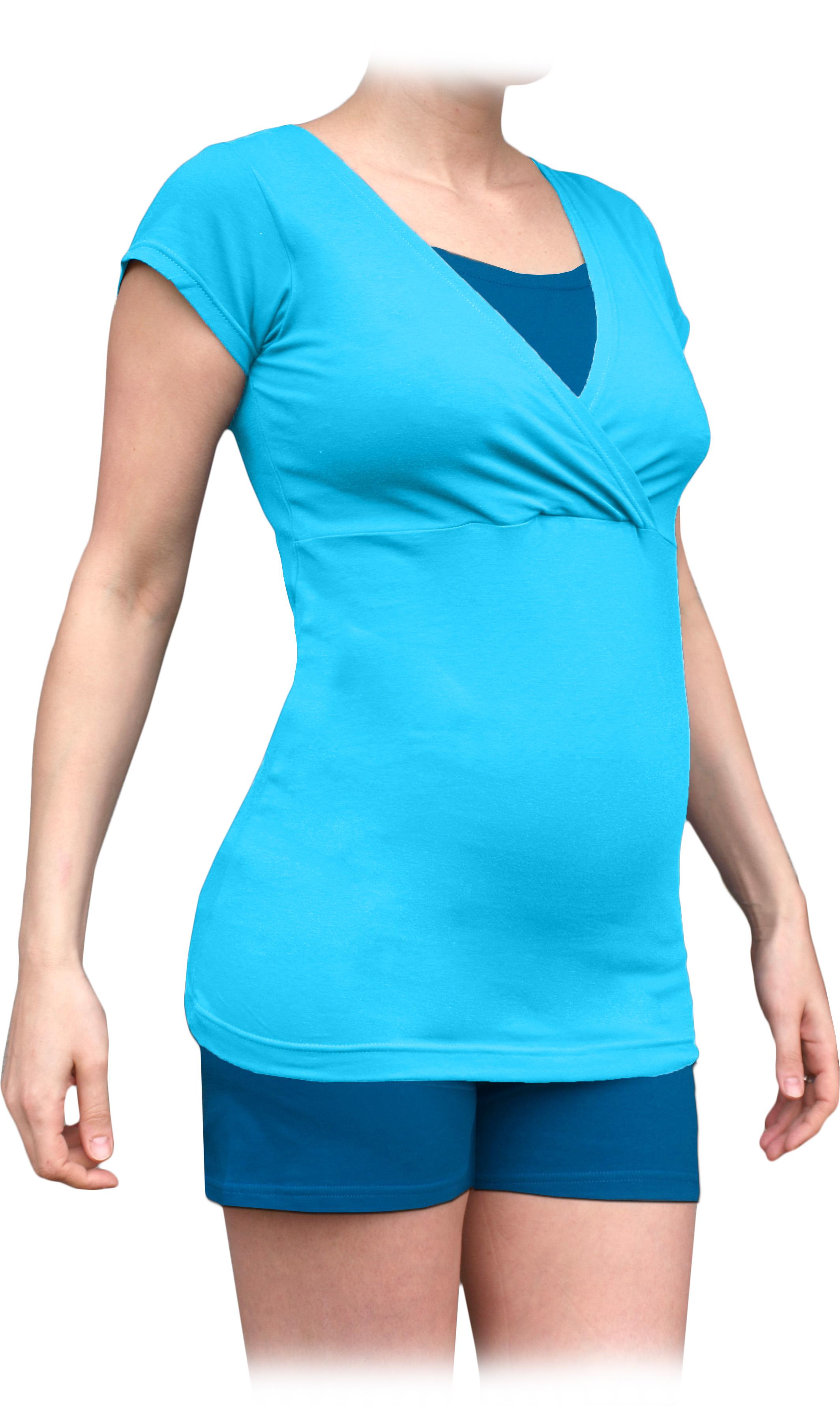 Těhotenské s kojicí pyžamo, krátké, tyrkysové