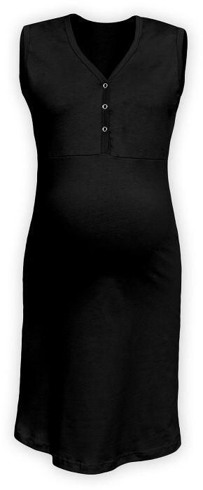 Kojící noční košile rozepínací, bez rukávů, černá l/xl