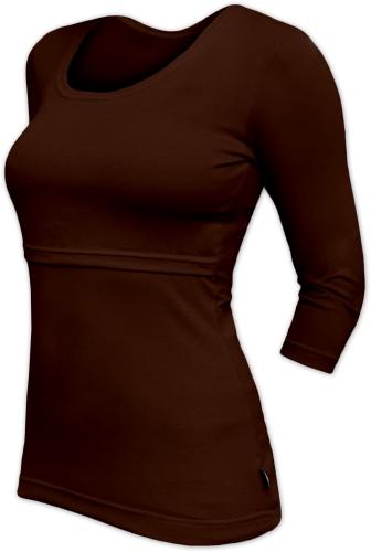 Breast-feeding T-shirt 01 Katerina, 3/4 sleeves, CHOCOLATE BROWN