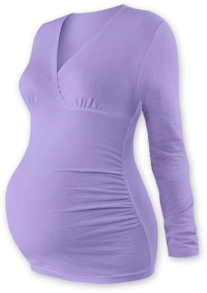 Těhotenská tunika Barbora, dlouhý rukáv, fialová levandulová