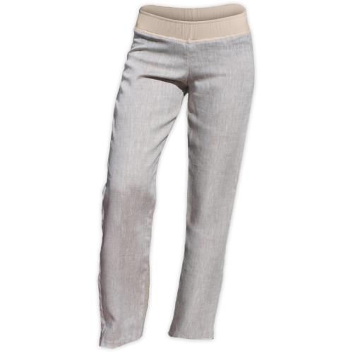 Ľanové dámske nohavice, aj pre tehotné, svetlý melír