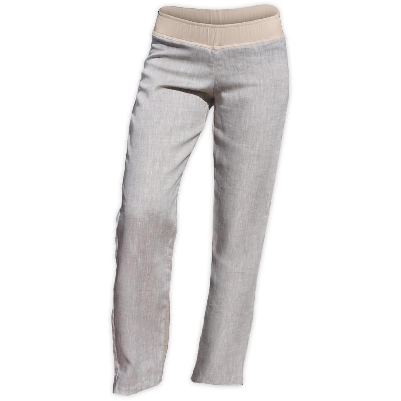 Lněné dámské kalhoty, i pro těhotné, světlý melír, vel.xxl, vnitřní délka nohavice 82cm