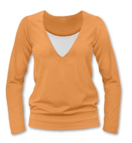 KARLA- breast-feeding T-shirt, long sleeves, LIGHT ORANGE
