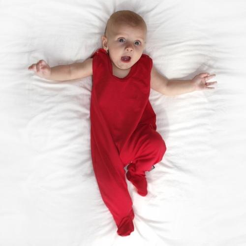 Dojčenské dupačky bavlnené, červené